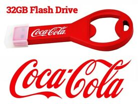 20PCS AVAILABLE - OFFICIAL COKE COLA BOTTLE OPENER & 32GB USB FLASH DRIVE MEMORY STICK