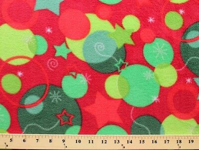 Fleece Christmas Snowflakes Ornaments Holiday Stars Red Fabric Print BTY A325.06 ()