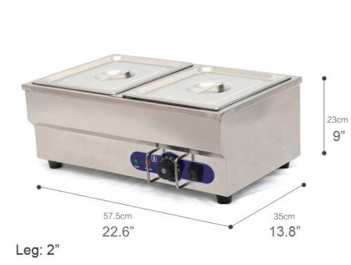 110V Electric Hot Dog Steamer & Bun Warmer Two Pans