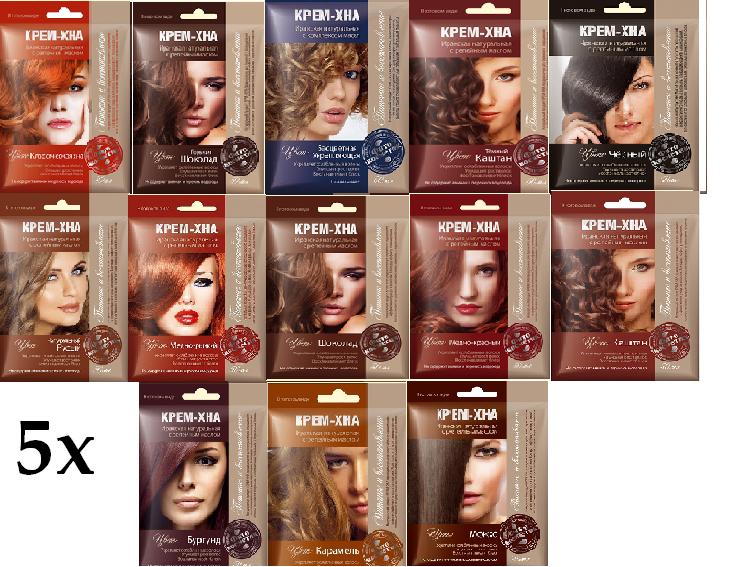 5 x Henna Creme Farbtönen Haarfarbe ohne Ammoniak m. Klettenöl Крем Хна 5x50 ml