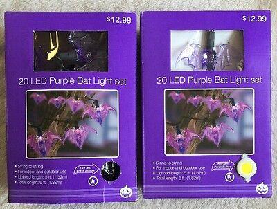 (2) Halloween Purple Bat Upon Sets 40-LED Bat Lights Total - 1 NIB 1 Open Box