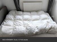 Ikea Bedding: HÖNSBÄR Duvet 12 TOG, ROSENDUN Mattress protector, INDIRA Bedspread