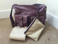 Storksak Emily Changing Bag – Purple Leather