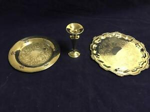 Silverplate Trays & Candlestick