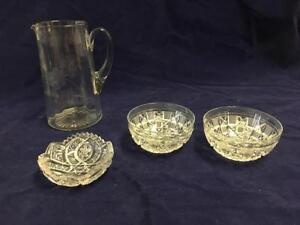 Glass Pitcher & Crystal Dishes