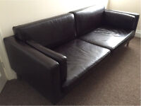 Leather 2.5 seater Ikea Sater Sofa brown