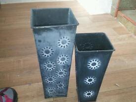 Grey tin storage vase