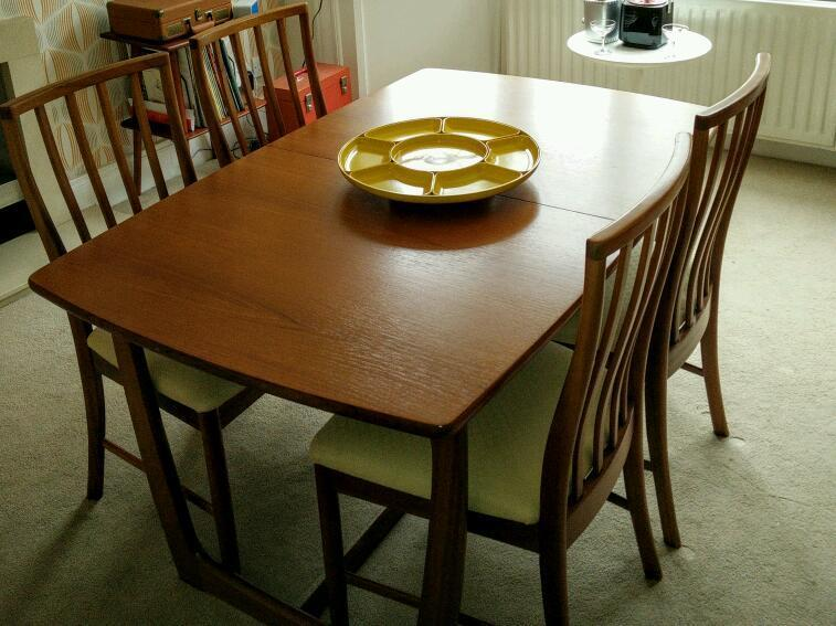 SOLD Retro 70s G Plan style dining table 4 chairs in