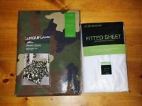 Single duvet cover and fitted sheet sets £10 each