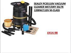 SEALEY PC35110V VACUUM CLEANER WET/DRY 35LTR 1200W/110V M-CLASS