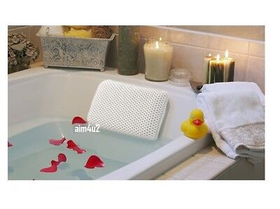 White Spongy Relaxing Cushion Bath Pillow Spa Head Neck Rest Bathroom