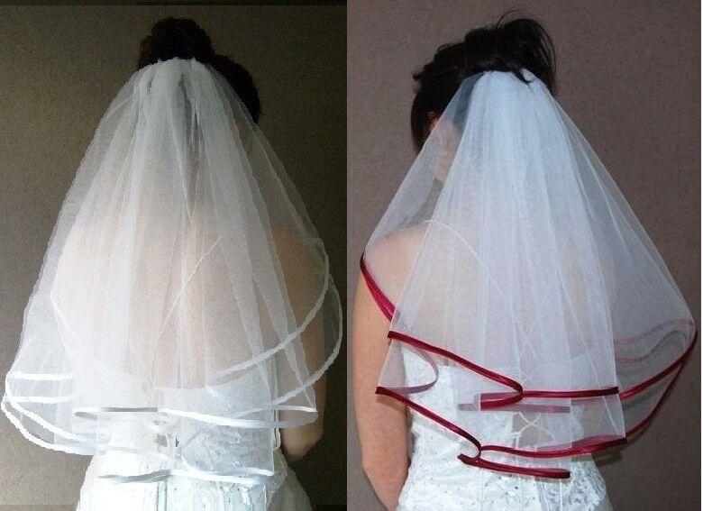 Schleier am Kamm nach Wahl zum Brautkleid Kopfschmuck Handschuhe Ringkissen neu