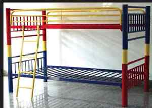 Colourful metal twin beds