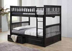 Double / Double Hardwood Bunk Bed w 2 Drawers in Espresso