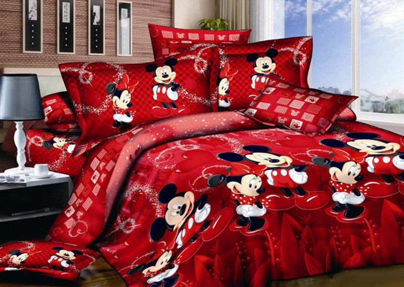 3D Disney Red Mickey Mouse Cotton Bedding Set Duvet Cover Qu