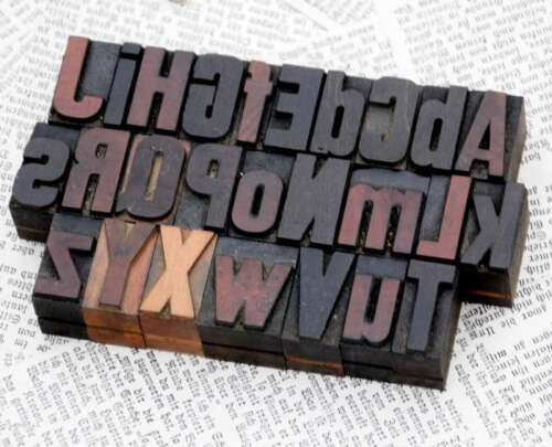 "A-Z alphabet 1.06"" letterpress wooden printing blocks wood type Vintage printer"