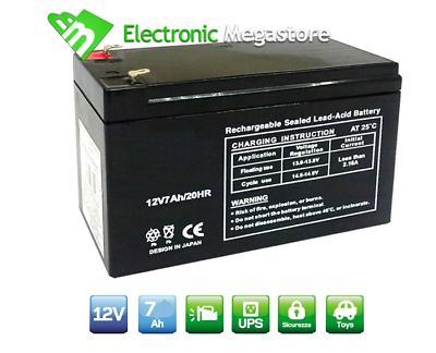 Batteria Ermetica Ricaricabile a Piombo 12V Volt 7Ah HP per gruppi di continuita