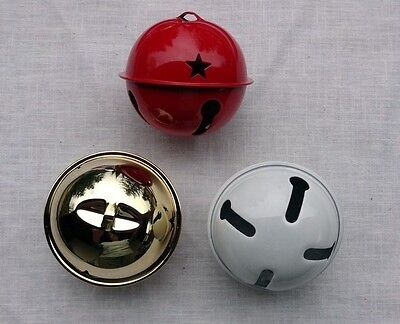 """JUMBO JINGLE BELL ~ 2.5"""" 2-1/2"""" ~ Shiny White or Red or Gold ~ For Wreath  Tree"""