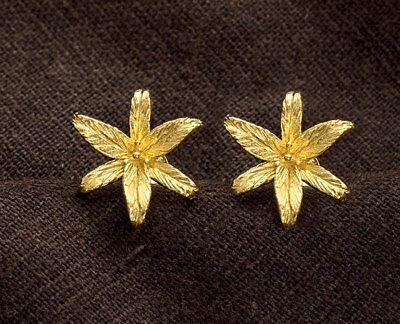925 Sterling Silver 24k Gold Vermeil Style  Lily Flower Stud Earrings 15x17mm. 24k Gold Vermeil Flower