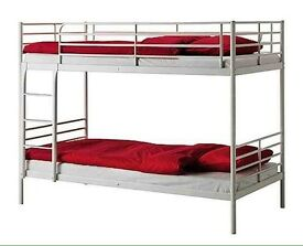 Ikea white metal bunk beds good condition