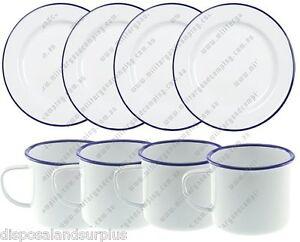 White Enamel Camping Dinner Set Inc 4 x 24cm Plates+ 4 x 9cm Mugs Enamelware NEW