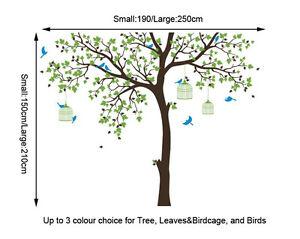 Bird Cage Tree Nursery Wall Stickers Removable Vinyl Decal Kids Baby Decor Art