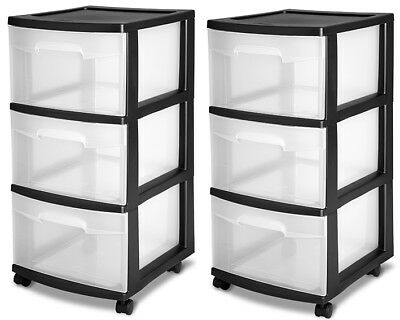 (3 Drawer Organizer Set 2 Cart Craft Plastic Storage Container Rolling Bin Black)