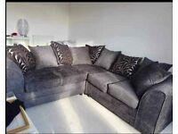 Grey Chenille Fabric Corner Pattern Cushion