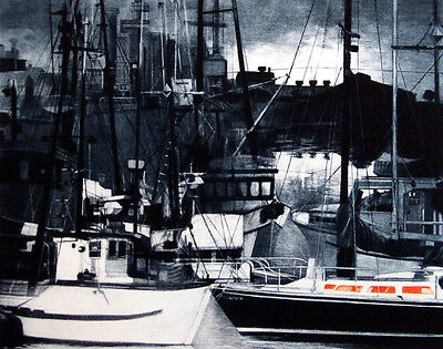 G H Rothe HARBOR NIGHT 81 boats Hand Signed Original Mezzotint Etching MakeOffer