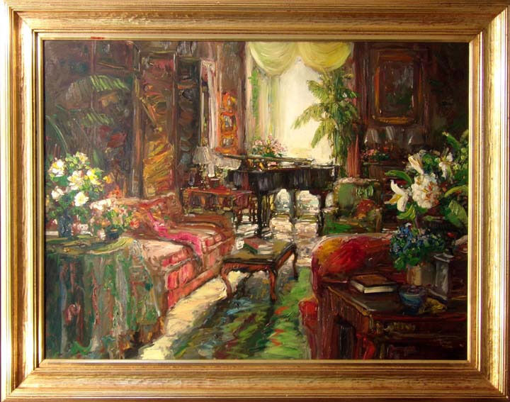 """Stephen Shortridge """"day Room""""hand Signed Giclee On Canvas With Custom Frame"""