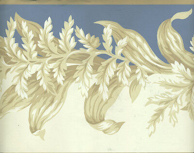 - ARCHITECTURAL VICTORIAN LEAF SCROLL BLUE AND TAUPE  WALLPAPER BORDER
