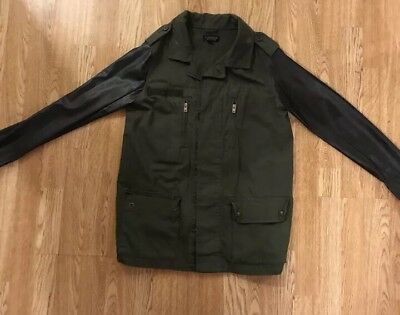 Topshop Khaki Jacket With Faux Leather Sleeves 8
