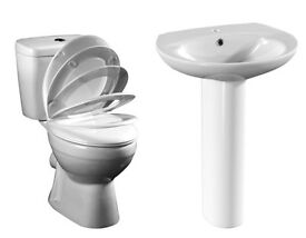 Bathroom Basin Including Pedestal & Compact Toilet WC Pack With Soft Close Seat