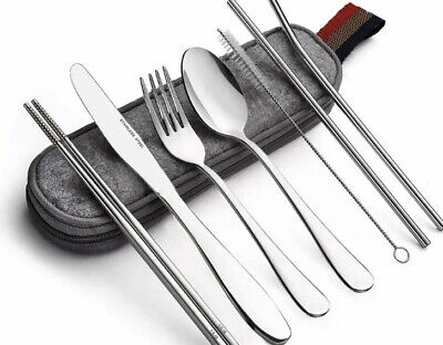 Portable Utensils Travel Camping Cutlery Set 8 PC Knife Fork Spoon SILVER USA