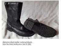 Mens Alpinestars Black Leather Boots, Size 11.