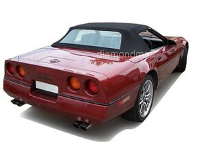 Chevy Corvette 1986-1993 Convertible Soft Top With Plastic Window Black Vinyl