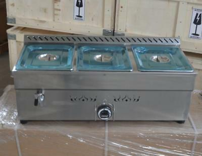 Intbuying 34 3-pan Lpg Gas Bain-marie Buffet Countertop Food Warmer Steamtable