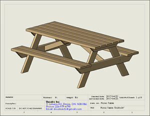 Picnic Table 30H X 30W x72L