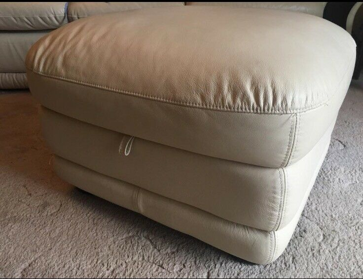 Cream leather foot stool with storage