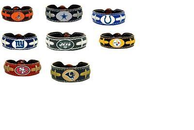 Official NFL Leather Football Bracelet Team Color Choose Your Team Team Color Leather