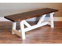 New Handmade Farmhouse Wooden Bench 140cm x 31cm x 48cm