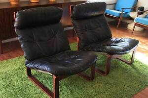 2 Retro Vintage Tessa T8 Armchairs Black Leather TV Lounge Chairs Keysborough Greater Dandenong Preview