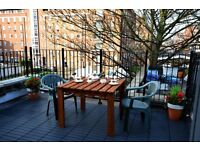 CAMDEN TOWN NEWLY REFURBISHED ONE BEDROOM LOFT STYLE FLAT WITH TRANQUIL ROOF TERRACE , 5 MINS TUBE