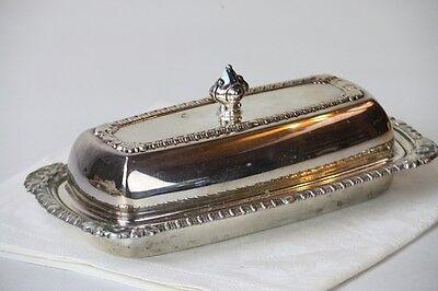 Silverplate Butter Dish w Lid Glass Insert Silver on Copper Leaf Trim Corners