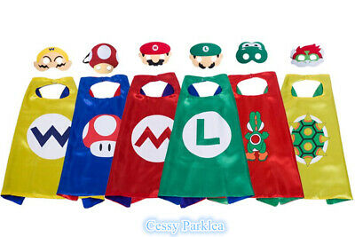 Super Mario Costume Accessories (Kids Supermario Mario Luigi Yoshi Cape Mask Superhero Costume)