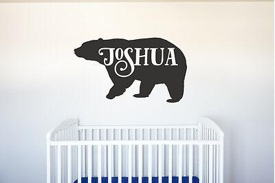 Nursery Name Art - Bear Name - Vinyl Decal Wall Art Decor for Forest Animal Nursery Children Baby