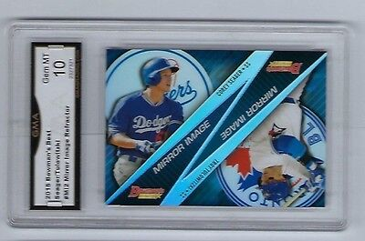 2015 Bowmans Best Corey Seager Troy Tulowitzki Mirror Image Refract GM Mint 10