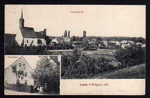 80020 AK Lausa Belgern Postamt Kirche Neussen 1917