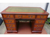 LEATHER TOP MAHOGANY TWIN PEDESTAL WRITING DESK