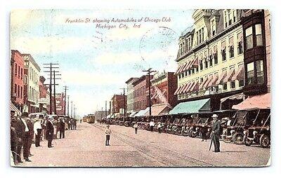 Vintage Postcard Franklin St Chicago Club Automobiles Michigan City IN1908 B7